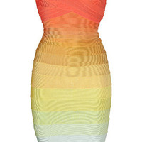 Hervé Léger - Rainbow Strapless Bandage Dress