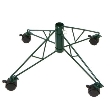 """21"""" Green Rolling Metal Tree Stand for 6.5' - 7.5' Artificial Christmas Trees"""