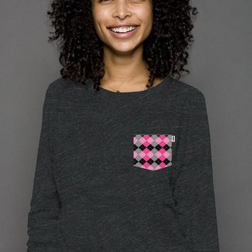 StyleSeven Argyle Queen of Hearts Pink  Raglan Sweater