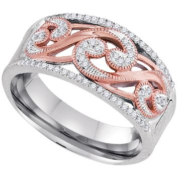 10kt Two-tone Gold Womens Round Diamond Filigree Band Ring 1/5 Cttw