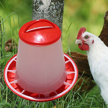 1.5kg Red Plastic Feeder Baby Chicken Chicks Hen Poultry Feeder Lid&Handle CAHU