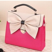 Retro Rose Red Bowknot Message Bag Handbag