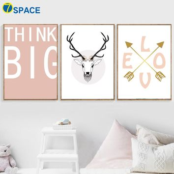 Cartoon Deer Arrow Love Quotes Wall Art Canvas Painting Nordic Posters And Prints Animal Pop Art Wall Pictures Kids Room Decor