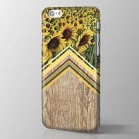 Personalized Sunflower Flowers iPhone case Sunflower iPhone 6 case Flowers iPhone 6  case Flower iPhone6 Plus case Chevron wood iPhone cover