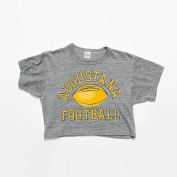 Vintage 80s TRI-BLEND Half SHIRT / 1980s Heather Gray Russell Augustana Football Crop Top