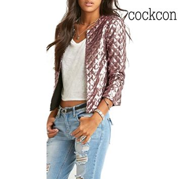 Brand New Spring Style Vogue Women Lozenge Sequins Jackets Stylish