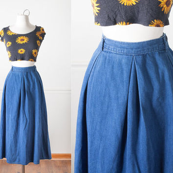 CALVIN KLEIN Denim Skirt | Vintage 80s High Waisted Skirt MIDI Skirt Full Pleated Skirt Minimalist Modest Normcore Simple Blue Jean Skirt