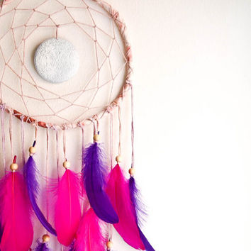 Large Dream Catcher - Dreamy Nights - With White Mandala Pendant, Pink and Purple Swan Feathers - Home Decor, Nursery Mobile