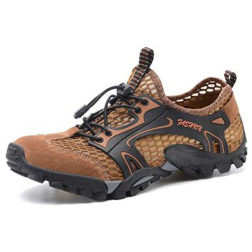 2018 New Spring Hiking Shoes Men Waterproof shoes Wear-resisting Climbing Mountain Shoes Leather Sport Sneakers Trekking Boot