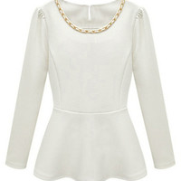ROMWE | ROMWE Curb Chain Embellished Long Sleeved White Blouse, The Latest Street Fashion