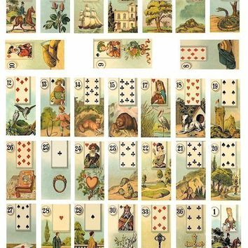 VINTAGE fortune telling cards digital download collage SHEET 1 x 2 INCH rectangles