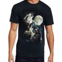 The Mountain Men's Glow Wolf Moon Shirt, Dark Green, Medium