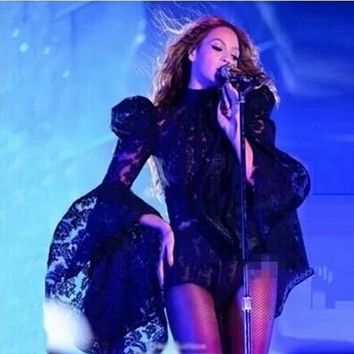 Sexy Female Singer Outfit Lace Space Costume Women Speaker Sleeves Bodysuit Black Stage Performance Beyonce Costume
