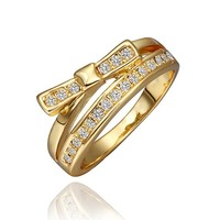 18K Yellow Gold Plated ClearCrystal Pave Bow Knot Shaped Cocktail Ring