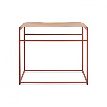 Blu Dot Red Common Leather Stool