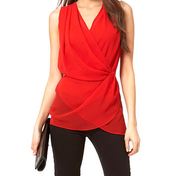 Sleeveless V-Neck Chiffon Wrapped Blouse