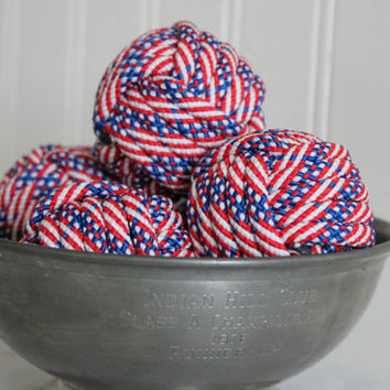 Nautical July 4th decor vase fillers - rope balls - monkey fists