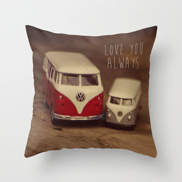 Cars Pillow Cover, Love Quote, Vintage Volkswagen Van, Kombi, Nursery Decor, Home Decor, Love you Always, Sweet, Romantic, Valentines Day