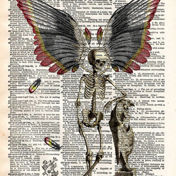 Winged skeleton fairy just hanging out with a skull creepy vintage dictionary page book art print