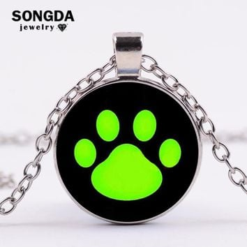 SONGDA Lovely Cat Bear and Dog Paw Glass Cabochon Necklace Footprint Pattern Sliver/Gold/Bronze/Black Chain Necklaces Pendants