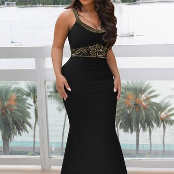 Black Rhinestone Spaghetti Strap Backless Mermaid Bodycon Elegant Banquet Party Wedding Maxi Dress