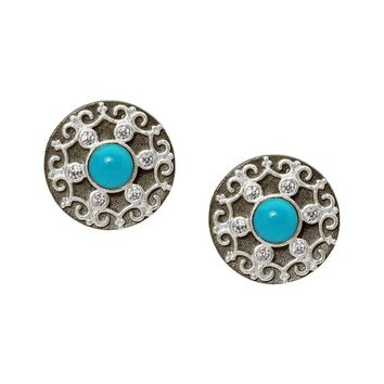 Her Majesty Sterling Silver Stud Earrings | Two Tone 13mm Turquoise Disks