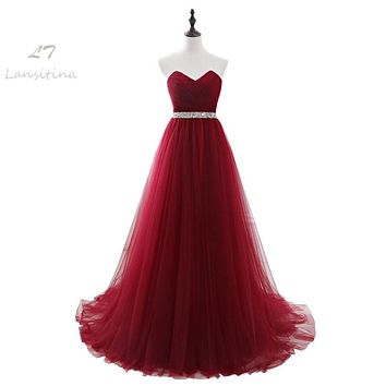 LANSITINA Dark Red Evening Dresses Net Pleat Beading Custom Made Lace-up Back Prom Party Gown With Court Train