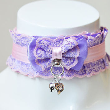 Kitten play collar - Cuddly kitty - pleated pastel kawaii bdsm choker with lace - kittenplay pet lolita daddy kink ddlg collar by nekollars