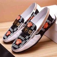 Versace New fashion print men shoes single shoes White black