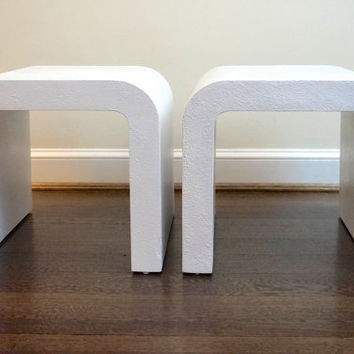 Pair of Mid Century Waterfall Karl Springer Style End Tables
