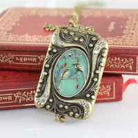 Victorian Bronze Big Photo Locket Pendant Necklace With Floral Pattern And Birds Blue Enamel Cameo On The Cap