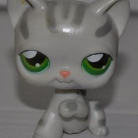 Shorthair Tabby Stripes #32 (Grey, Green Eyes) - Littlest Pet Shop (Retired) Collector Toy - LPS Collectible Replacement Single Figure - Loose (OOP Out of Package & Print)
