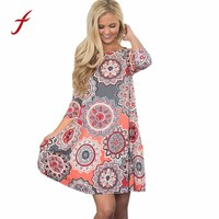 Feitong Autumn Womens Causal Dresses 2018 Fashion Vintage Long Sleeve Evening Party Floral Mini Dress vestidos femininos robe