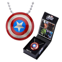 Captain America Shield Pendant with Chain Necklace