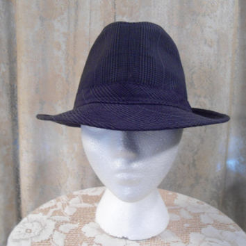 "Mens Size Small/Medium 22.5"" Fedora Hat Grey Plaid Black Plaid Tweed 100% Cotton Al Capone hat Mobster hat Costume Press Hat Mafia Hat"