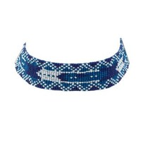 Blue Aztec Beaded Choker Necklace by Charlotte Russe