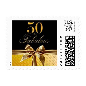50 and Fabulous Black Gold Bow sparkle Leather Postage