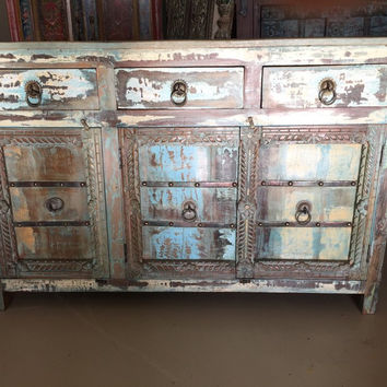 Antique Distressed Blue Sideboards Drawer Chest Dresser Storage Cabinet