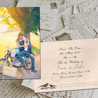 "50 Wedding Save The Date Cards - CentralPark Vintage Photo Personalized 4""x6"""