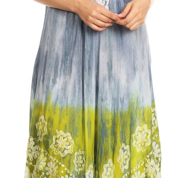 Sakkas Sofia Women's Flowy Summer Maxi Beach Dress Tie-dye w/Batik & Short Sleeves