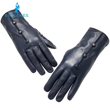 Genuine Leather gloves female Fashion leather gloves Vintage gloves women Top Grade gloves winter Small black snap design