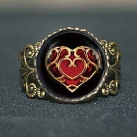 life Zelda heart container Adjustable Ring, legend of Zelda vintage Pendant Adjustable ring jewelry