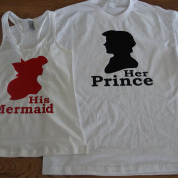 Free/Fast Shipping for US Ariel & Eric The Little Mermaid Prince and Princess Tank Tops/t shirts