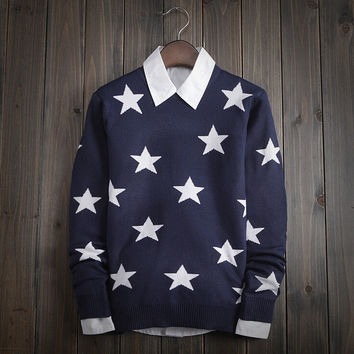 Men's Vintage Comfortable Soft Stars Sweater