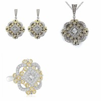 14K Yellow Gold Vintage Antique Art Deco Style Cubic Zirconia Earrings, Pendant and Ring Matching Set by CZ Sparkle Jewelry®