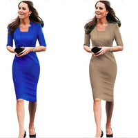 Vintage Pinup Bodycon Business Party Shift Pencil Dress