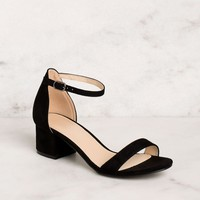 Merideth Black Low Block Heels