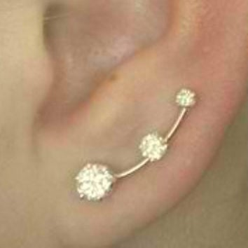 Ear Pin Mini CZ - 14K Gold Filled and Sterling Silver - PAIR