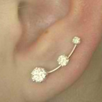 Ear Pin with  Three Cubic Zirconias - SINGLE SIDE - 14K Gold Filled or Sterling Silver