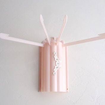 Vintage 1950's Pink Plastic w/ White Rhinestone Flowers, Wall Mount Dryer for Stockings, Gloves, Hankies - MENDA CO, Mid-Century Bathroom